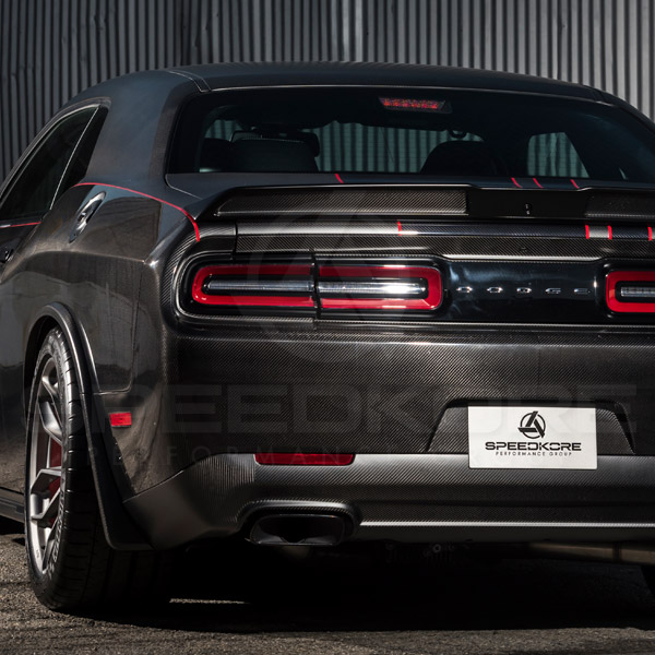 speedkore carbon fiber dodge challenger rear spoiler close