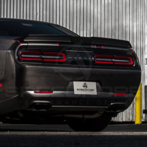 speedkore carbon fiber dodge challenger rear spoiler close rear quarter