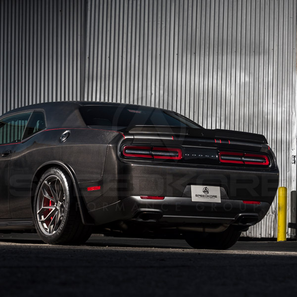 speedkore carbon fiber dodge challenger rear spoiler far rear quarter