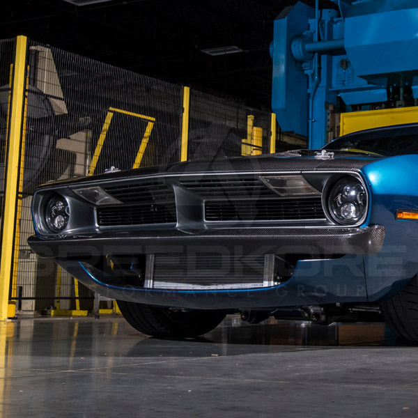speedkore blue 1970 plymouth barracuda carbon fiber front bumper