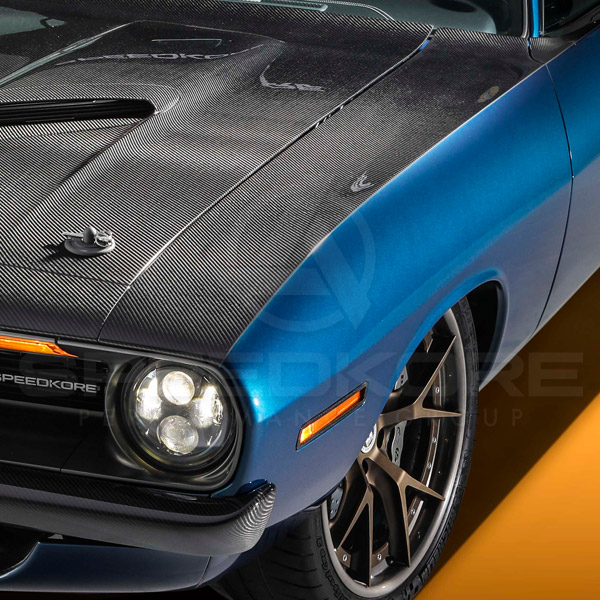 speedkore blue 1970 plymouth barracuda carbon fiber front fender close top view