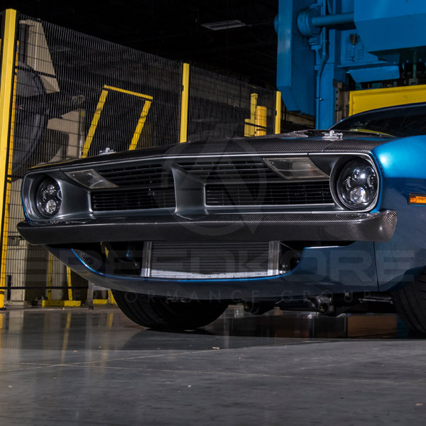speedkore blue 1970 plymouth barracuda carbon fiber header panel