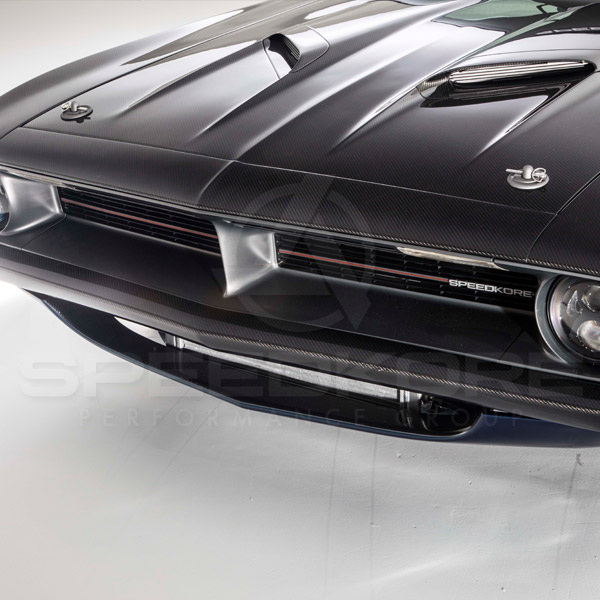 speedkore blue 1970 plymouth barracuda carbon fiber hood