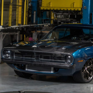 speedkore blue 1970 plymouth barracuda carbon fiber hood far view