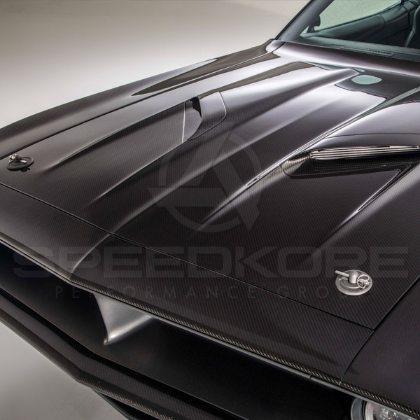 speedkore blue 1970 plymouth barracuda carbon fiber hood and vents