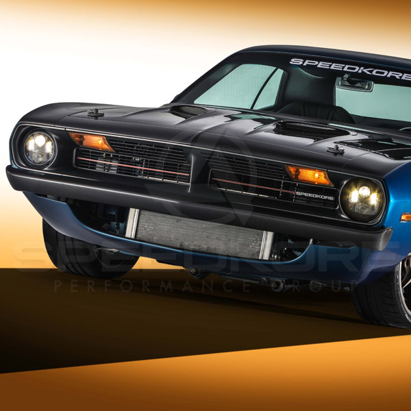 speedkore blue 1970 plymouth barracuda carbon fiber lower valance