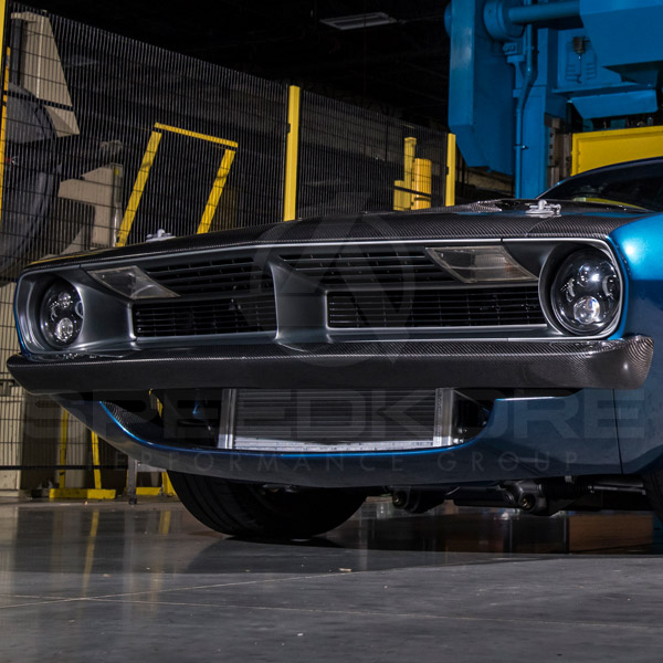 speedkore blue 1970 plymouth barracuda carbon fiber lower valance close view