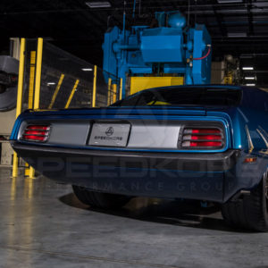 speedkore blue 1970 plymouth barracuda carbon fiber rear bumper