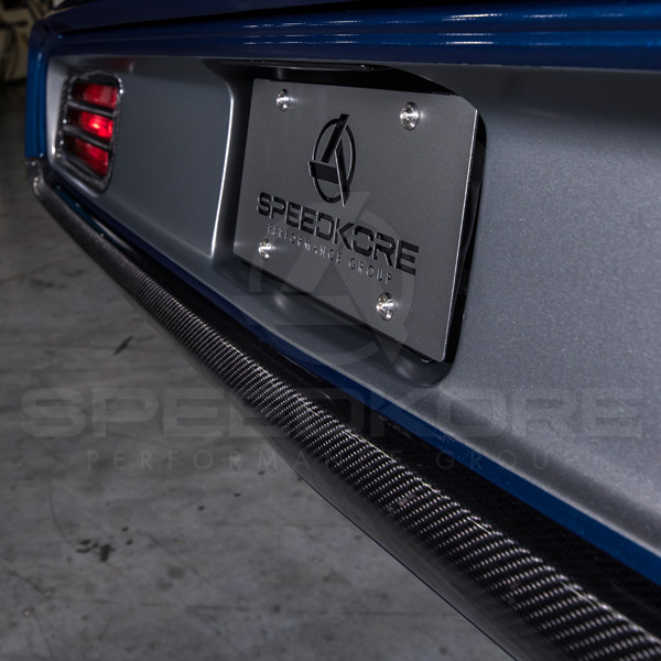 speedkore blue 1970 plymouth barracuda carbon fiber rear bumper close