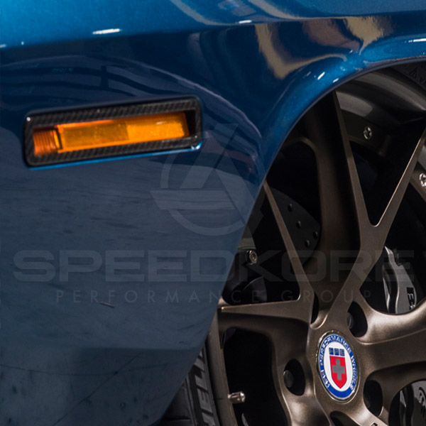 speedkore blue 1970 plymouth barracuda carbon fiber side markers close view