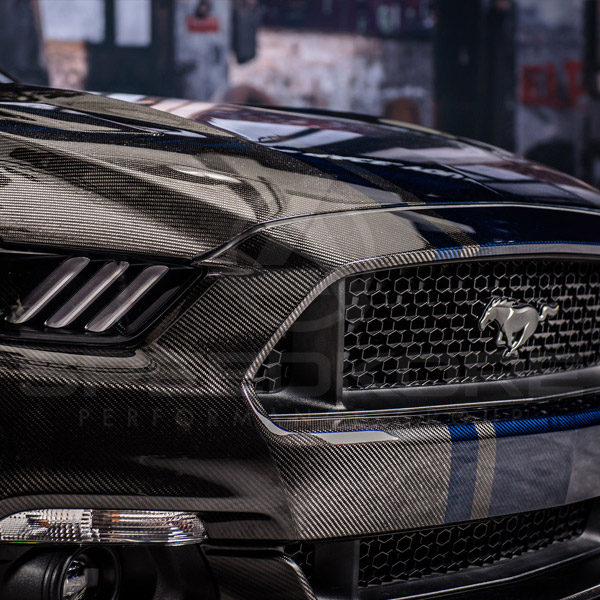 speedkore carbon fiber ford mustang carbon fiber front bumper close view