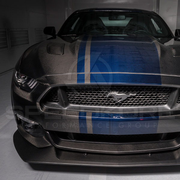 speedkore carbon fiber ford mustang carbon fiber front splitter front view