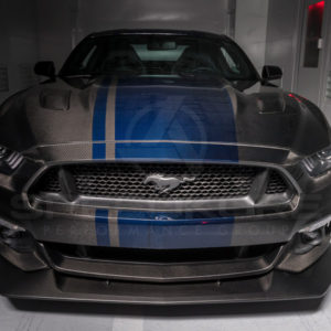 speedkore carbon fiber ford mustang carbon fiber hood front view