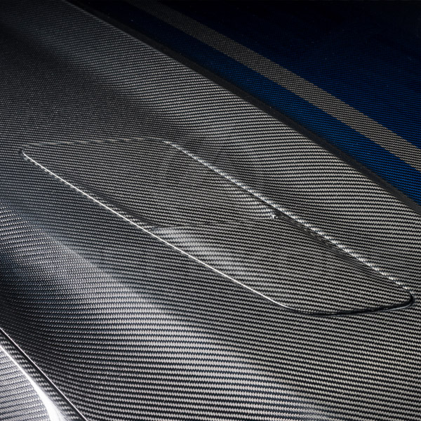 speedkore carbon fiber ford mustang carbon fiber hood ducts close view