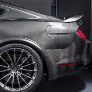 speedkore carbon fiber ford mustang carbon fiber rear bumper side view