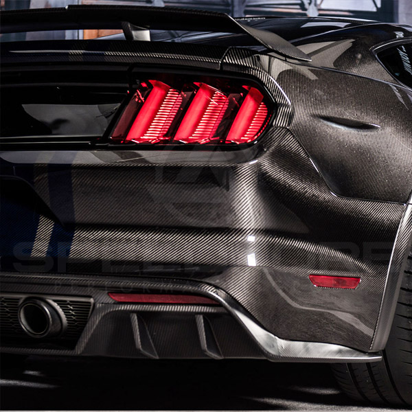 speedkore carbon fiber ford mustang carbon fiber rear bumper close view