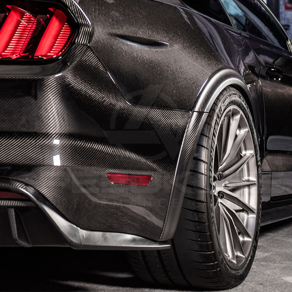 speedkore carbon fiber ford mustang carbon fiber speed flares rear view