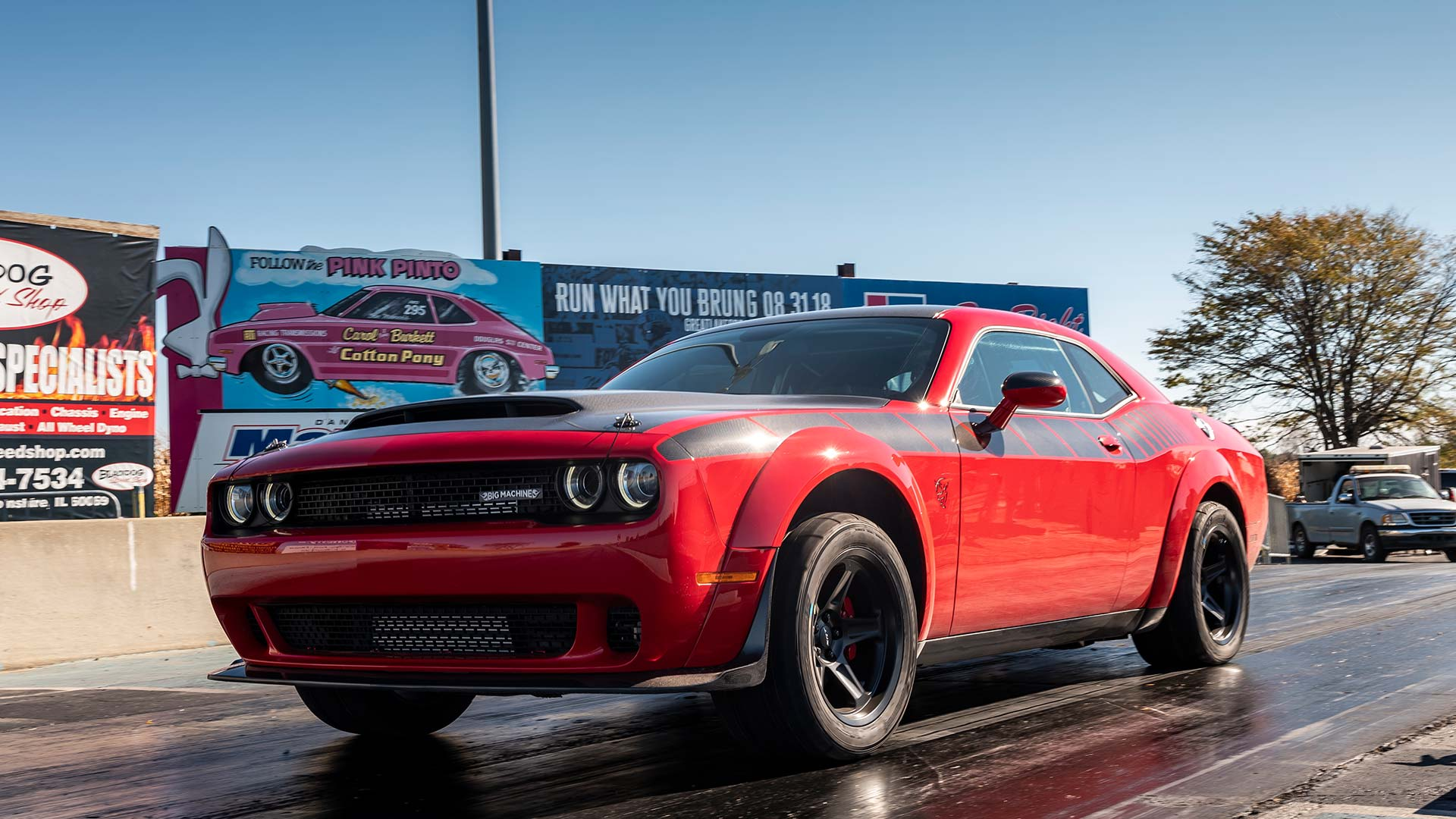 big machines red 2018 dodge demon at drag strip